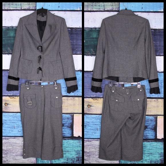Sao Paulo Knit Lace Trim Sleeve Crop Pant Suit